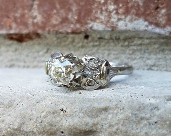 Antique Engagement Ring, Art Deco Engagement Ring, VS 0.87 Carat Old European Diamond Platinum