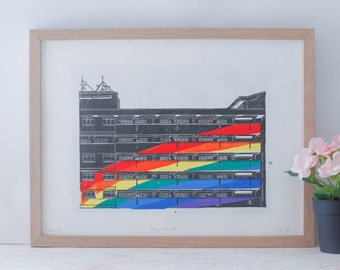 Hougang Rainbow HDB - Linocut, Lino Print, Reduction Print, Reduction Linocut, Relief Print, Limited Edition, Block Print, Printmaking