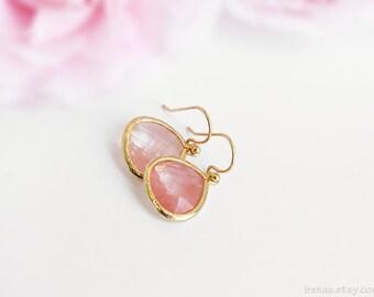 Grapefruit earrings Gold grapefruit earrings Light pink teardrop earrings large drop glass earrings grapefruit gold dangle earring faceted