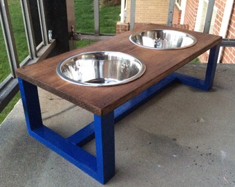 Contemporary wood dog bowl holder, pet bowl holder, wooden pet dish holder, raised dog feeder, cat dish holder, rustic home decor, modern