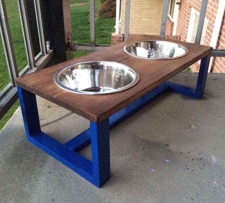 Contemporary Wood Dog Bowl Holder Pet Bowl By Sheltonwoodworks