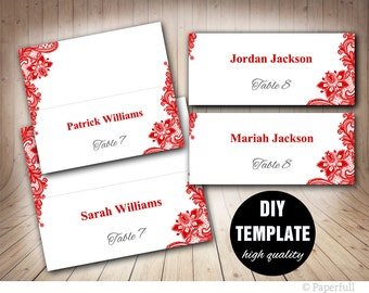 Red Wedding Placecard Template Foldover, DIY Red Place card, Instant Download,Printable Lace Wedding Seating Placecards,Red Lace Place cards
