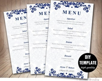 Menu Card Template - DIY Printable Wedding Menu Card,Blue Wedding Instant Download,Blue Menu Template,Floral Wedding