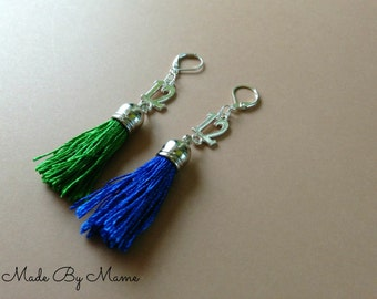 Seahawks 12th Man Boho Tassel Earrings, Blue and Green Cotton Tassels, Long Handmade Shiny Silver Earrings, Seattle Seahawks, Hawks Jewelry