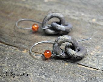 Earthy Bohemian Earrings, Ceramic Artisan Earrings, ScorchedEarth Hoops, Sterling Silver, Rustic Jewelry, Carnelian, Organic, Gypsy, Boho