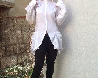 Steampunk Womens cotton slim fit white blouse/Extravagant tailored blouse