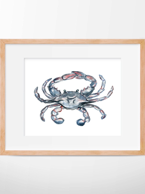 Blue crab 103 print crab art watercolor crab print for Crab decorations for home