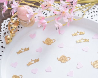 Tea Party Decoration - Crowns and Teapots - Pink and Gold Tea Party -  Alice in Wonderland confetti