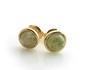Prehnite Stud Earrings, Gold Post Earrings, Prehnite Gemstone, Prehnite and Gold, Green Earrings, Gold Stud, Bridesmaids Gift, Gift for Her