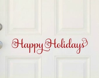 Happy Holidays Door Decal Christmas Door Decal Christmas Door Decor Holiday Door Vinyl Decal Happy Holidays Decal Christmas Vinyl Decal