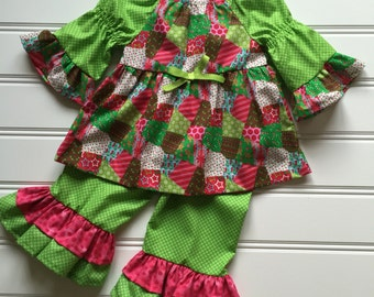 Patchwork Ruffle Pants Outfit, Girls Christmas Outfit, Toddler Christmas Outfit, Girls Red Outfit, Girls Holiday clothes, 2T