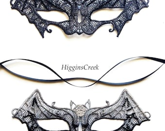 Bat Costume Mask, Halloween Bat Mask, Bat Girl's Mask, Lace Bat Mask, Masquerade Ball Masks