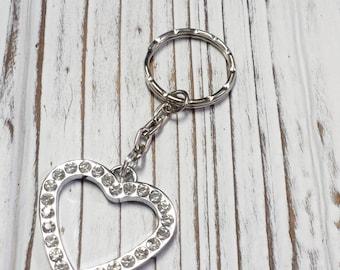 Key Chain, Rhinestone Heart with Chain Key Ring, Heart Key Chain, Rhinestone Key Ring, Love Key Chain