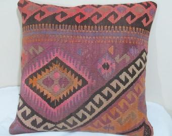 "turkish kilim pillow cover 20""X20""kilim pillow-vintage pillow"