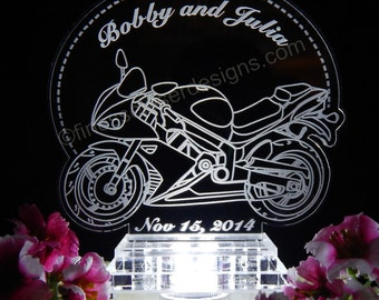 Motorcycle Wedding Cake Top -Sportbike Motorcycle Cake Topper - Light Up Topper - Motorcycle Cake Top -Acrylice Wedding Cake topper