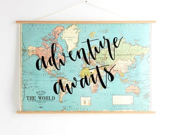hand lettered calligraphy map: adventure awaits | wanderlust | our adventure begins