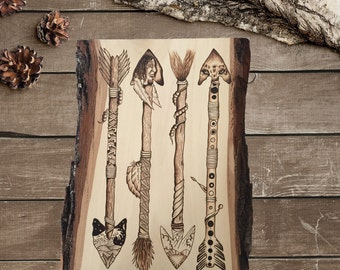 Pyrography wood burning on a Basswood plank. Native American arrow theme. Arrow artwork, designed and  hand created by Timberlee Pyrography