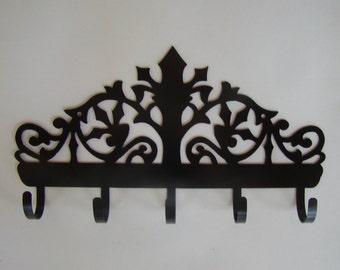 Victorian Scrollwork Key Hook Wall Key Holder Jewelry Belt Scarf Steel