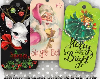 Retro Christmas Digital Tags Cards Labels Digital Collage Sheets Christmas Cards ACEO Christmas Images Instant Digital Download