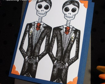 Groom + Groom in Moderna / Calavera Gay Wedding Handmade Greeting Card