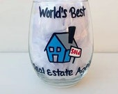 Real Estate Agent handpainted stemless wine glass