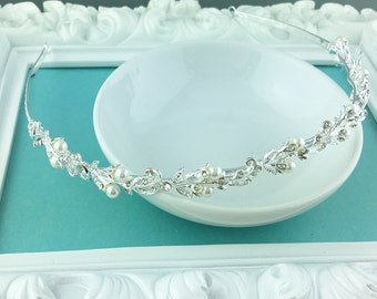 Rhinestone Crystal Pearl bridal headband headpiece, wedding headband, wedding headpiece, rhinestone tiara, pearl tiara 233145182