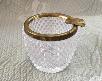 Diamond Cut Glass Ashtray Brass Rim, Pressed Glass Ashtray With Decorative Brass Rim, Brass Rimmed Glass Ashtray, Brass Cigarette Rest