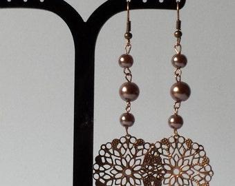 Handmade Bronze Dangle Earrings With Hooks