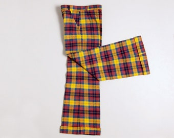 Vintage French multicolored flared pants /trousers age 7/8 -NEW OLD STOCK-
