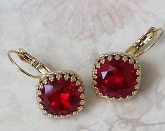 Ruby Red Crystal Earrings Swarovski Ruby Red Earrings Elegant Crystal Earrings Red Crystal Rhinestone Gold Drop Earrings Ruby Earrings