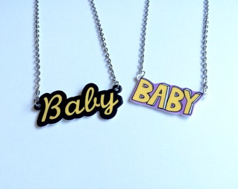 Baby Necklace, Baby Word Necklace, Baby Name Necklace, Kawaii Necklace, Creepy Cute Necklace, Cyber Ghetto Necklace