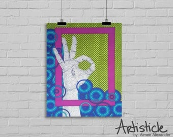 OK Art Print - Sign Language Art - Colorful Artwork - Geometric Art - Hand Drawing - Modern Office Decor - Yellow Pink Art - Blue Artwork