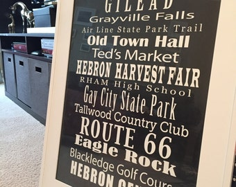 Hebron, Connecticut Hometown Landmark Print (New England, CT, etc.)