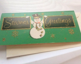 Vintage Christmas card snowman unused+env