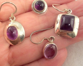 9 different Purple Amethyst Earrings. Sterling Silver free US ship