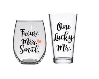 Future Mrs, One Lucky Mr, Engagement Gift, Bride and Groom Glasses, Bride to be
