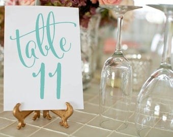 Printable Wedding Table Numbers ⋆ #1-50 DIY Table Number Cards ⋆ Turquoise Wedding Decor ⋆ 5x7 ⋆ Wedding Printables ⋆ #KKD105