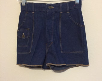 SALE 1960s Shorts Pin-up Jean Shorts 1970s Denim Shorts