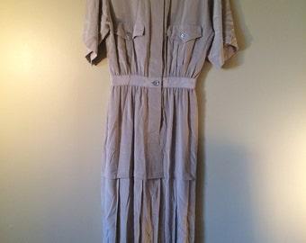Tan Silk Vintage Tiered Dress // Annie Hall 1970's Silk Dress // Beautiful 100% Silk Vintage