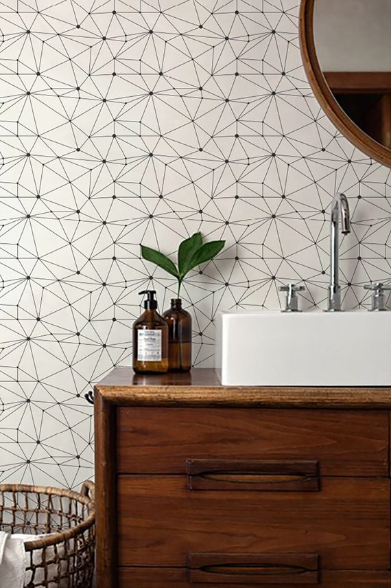 Minimalistic geometric removable self adhesive temporary for Temporary wall coverings