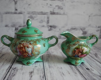 Pretty Teal Green Sugar Bowl and Creamer, Austria, Austrian