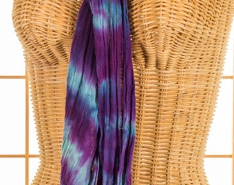 Scarf Purple and Seafoam Green Cotton Hand Dyed Fringe Hand Woven READY TO SHIP
