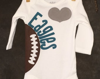 Personalized Heart OR Bow Tie Philadelphia Eagles Team Football Bodysuit
