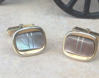 Vintage Abalone River Shell Cufflinks with Silver Inlay