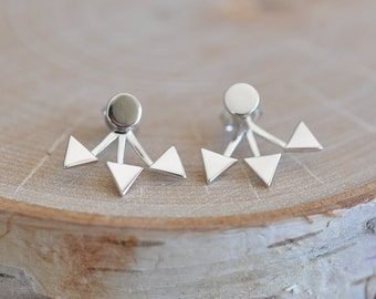 Triangle Ear Jacket in Sterling Silver 925, Spike Ear Jacket, Triangle Earrings, Circle Stud Earrings, Triangle Ear Climber, Jambe Jewels