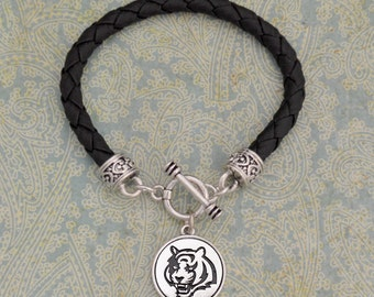 Tiger Leather Toggle Bracelet