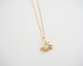 Matte Gold Gingko Leaf Necklace