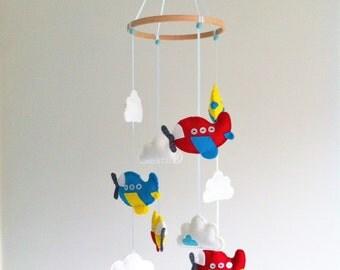 Hand stitched felt Airplane Nursery Mobile - Aeroplane - Plane and Cloud Crib Mobile - Custom made