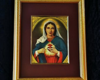 Large Matted Vintage Immaculate Heart Of Mary  Print in Gold Wooden Frame