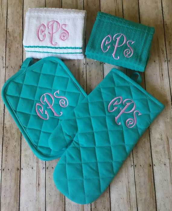 3 Letter Monogrammed Kitchen Towel Set Personalized By